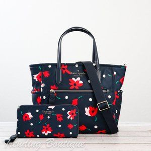NWT Kate Spade Chelsea Medium Satchel & Continental Wallet in Whimsy Floral SET
